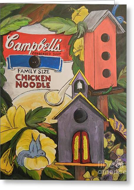 Campbell's Soup Can Recycle Greeting Card by Brenda Wooldridge