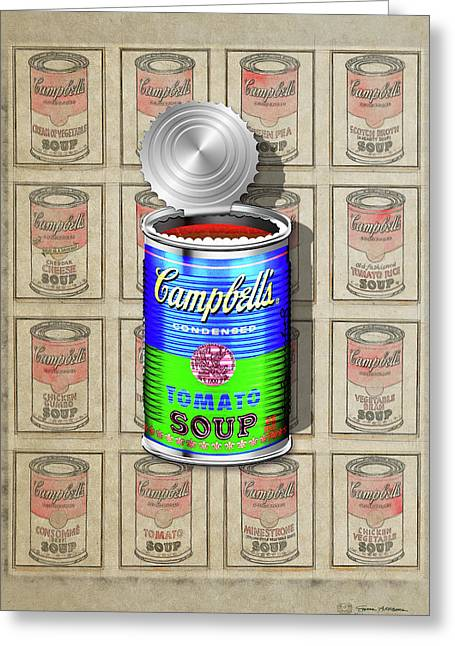 Campbell's Soup Revisited - Blue And Green Greeting Card