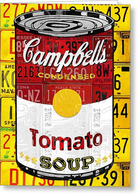 Campbells Tomato Soup Can Recycled License Plate Art Greeting Card by Design Turnpike