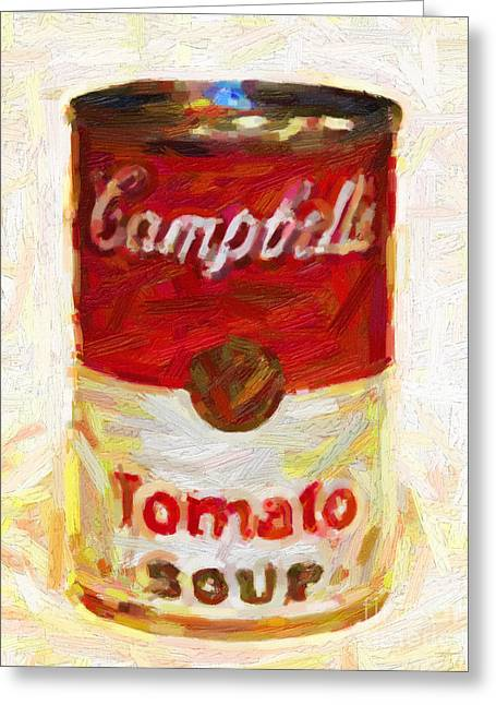 Campbells Tomato Soup Greeting Card by Wingsdomain Art and Photography