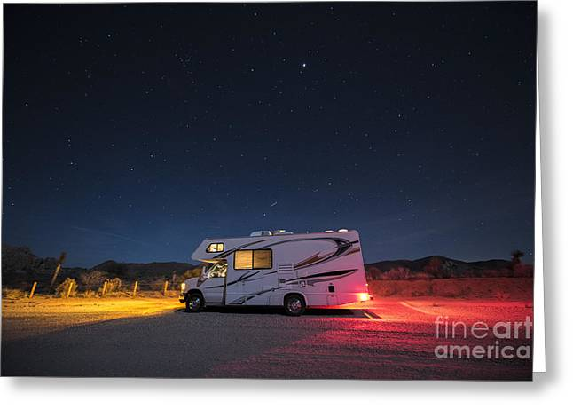 Camper Under A Night Sky Greeting Card by Juli Scalzi