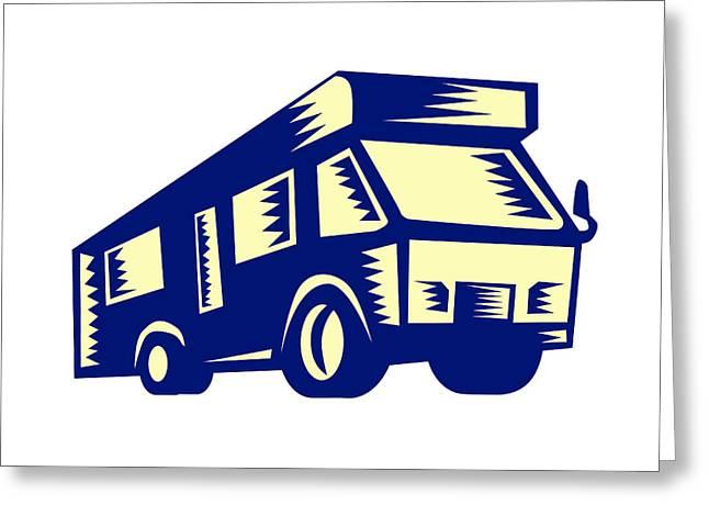Camper Van Motor Home Woodcut Greeting Card by Aloysius Patrimonio