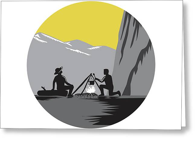 Campers Sitting Cooking Campfire Circle Woodcut Greeting Card by Aloysius Patrimonio