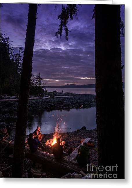 Campfire @ Orca Camp Greeting Card by Dragonfly 'n' Brambles Imagery