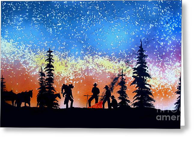 Campfire Tales Greeting Card by Ed Moore