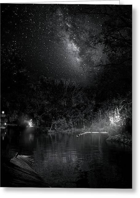 Greeting Card featuring the photograph Campfires On Milky Way River by Mark Andrew Thomas