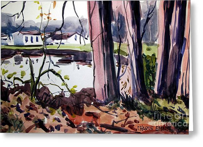 Campground Across The Eel Greeting Card by Charlie Spear