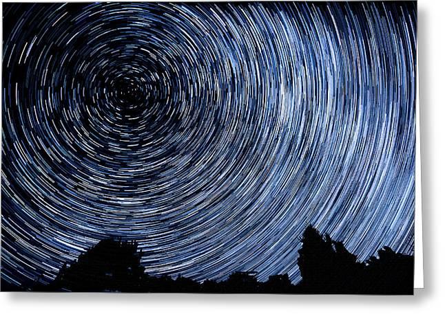 Campground Star Trails Greeting Card by Paul Freidlund