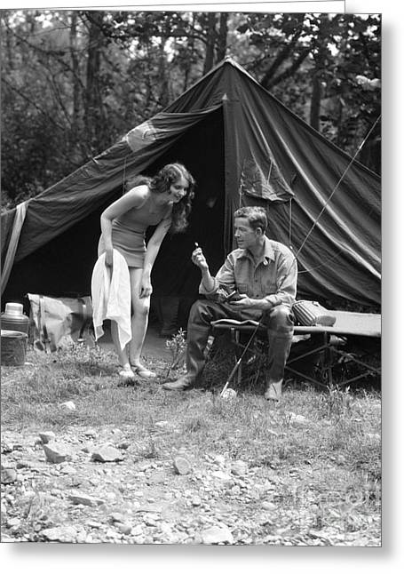 Camping Couple, C.1920s Greeting Card