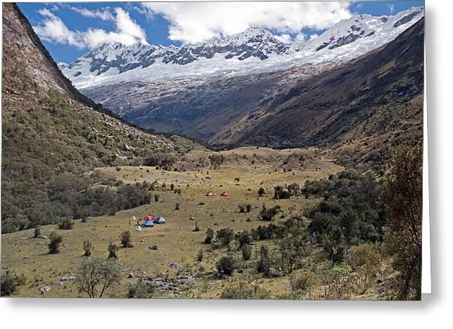 Camping In Huaripampa Valley Greeting Card