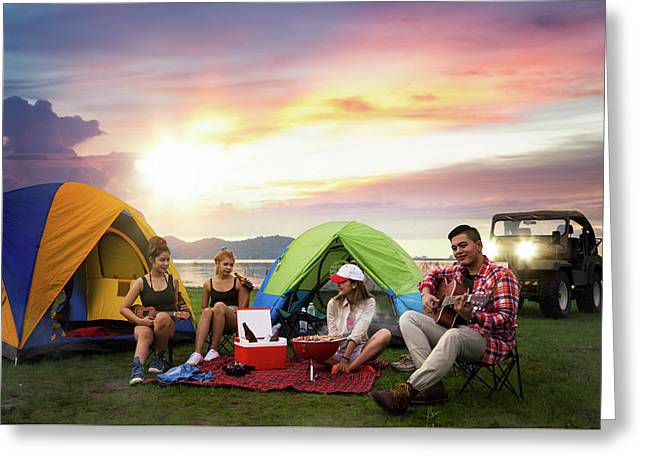 Camping Of Asian Man And Women Group Greeting Card