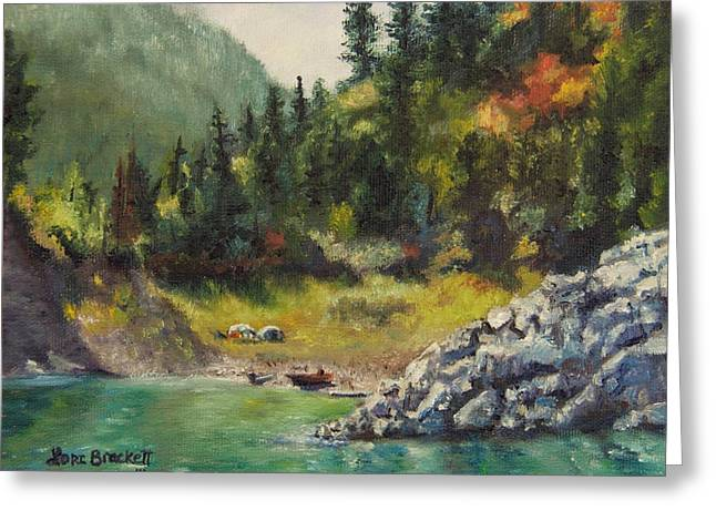 Camping On The Lake Shore Greeting Card