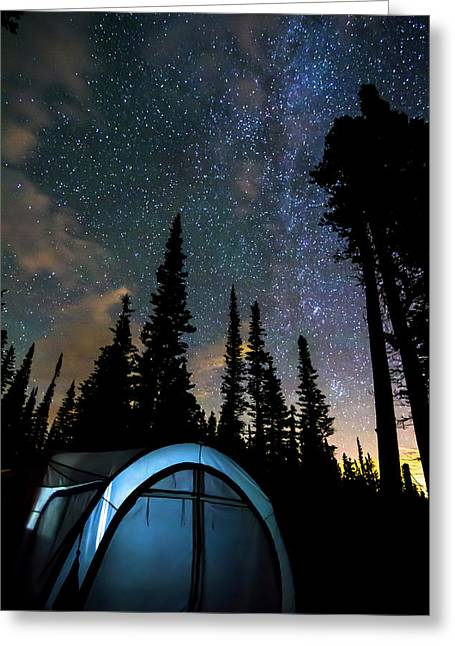 Greeting Card featuring the photograph Camping Star Light Star Bright by James BO Insogna