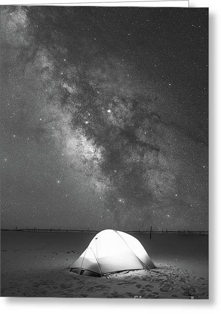 Camping Under The Galaxy Bw Greeting Card by Michael Ver Sprill