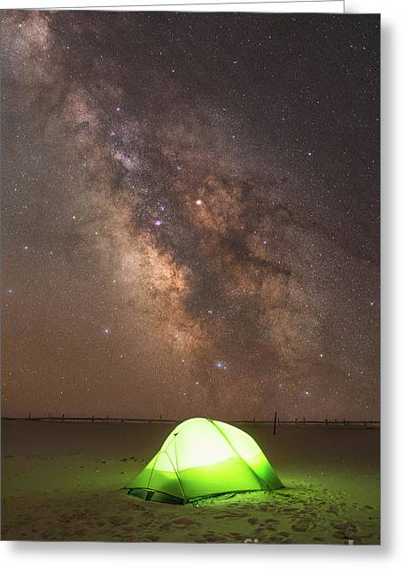 Camping Under The Galaxy  Greeting Card by Michael Ver Sprill