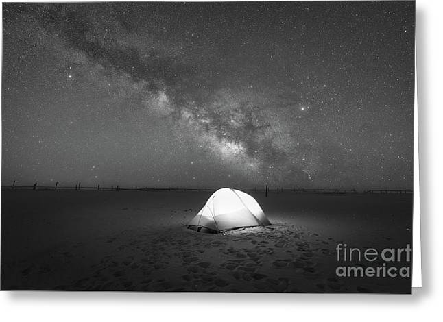 Camping Under The Milky Way Galaxy Bw Greeting Card by Michael Ver Sprill