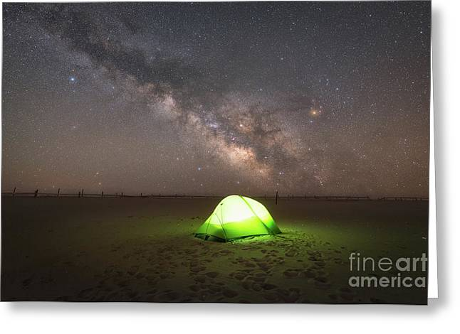 Camping Under The Milky Way Galaxy Greeting Card by Michael Ver Sprill
