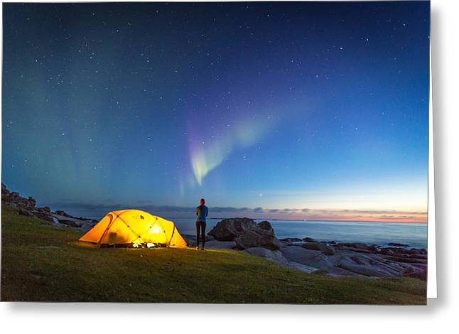 Camping Under The Northern Lights Greeting Card by Alex Conu