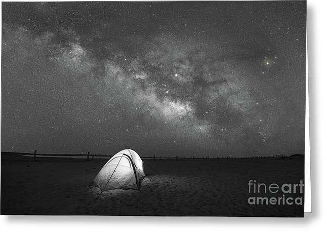 Camping Under The Stars Bw Greeting Card by Michael Ver Sprill