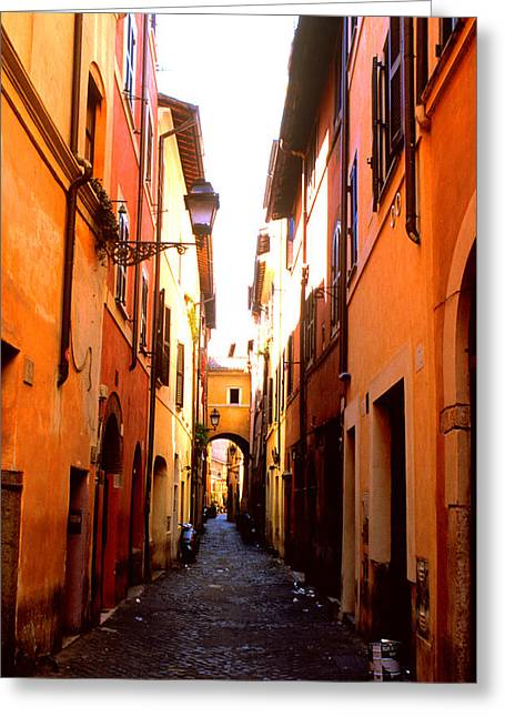 Fiori Greeting Cards - Campo de Fiori Alley Greeting Card by Kathy Yates