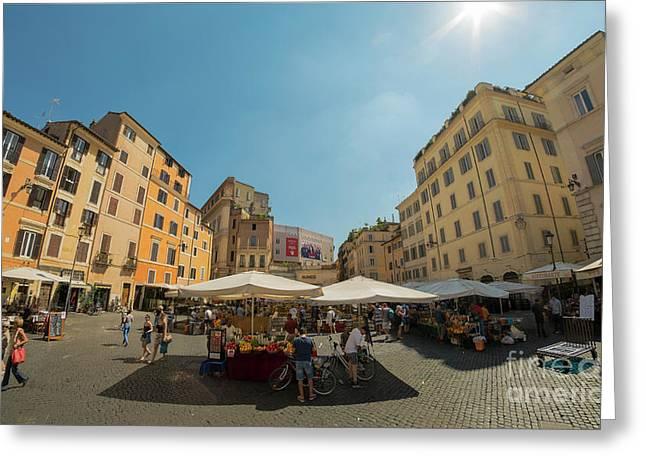 Campo Dei Fiori Market In Rome, Italy Greeting Card
