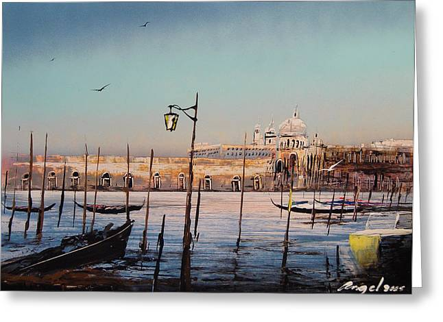 Campo Sallute Venice Greeting Card by Angel Ortiz