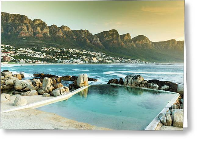 Camps Bay At Dusk Greeting Card by Tim Hester