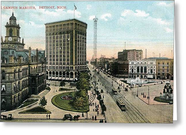 Campus Martius With The Old Detroit City Hal Greeting Card by Celestial Images