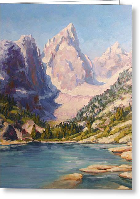 Can Almost Touch The Sky - Delta Lake, Tetons Greeting Card by Rebecca Riel