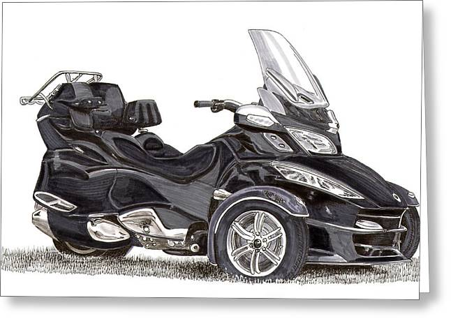 Greeting Card featuring the painting Can-am Spyder Trike by Jack Pumphrey