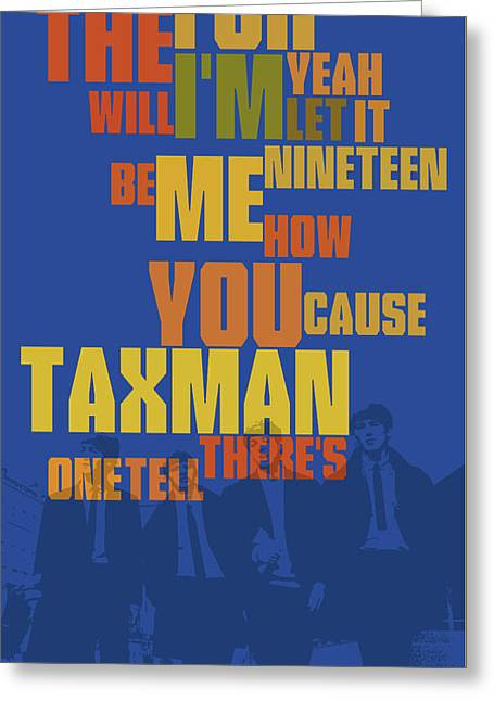 Can You Recognize The Song? Poster Game For Music Lovers. Blue And Yellow Art Greeting Card by Pablo Franchi