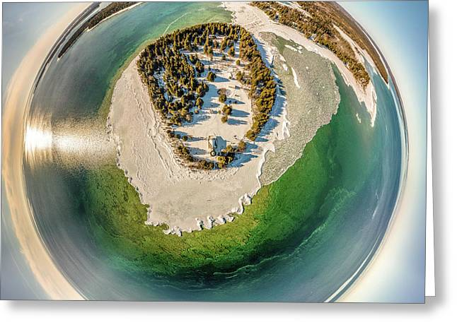 Greeting Card featuring the photograph Cana Island Lighthouse Little Planet by Randy Scherkenbach