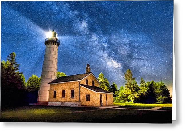 Cana Island Lighthouse Milky Way In Door County Wisconsin Greeting Card