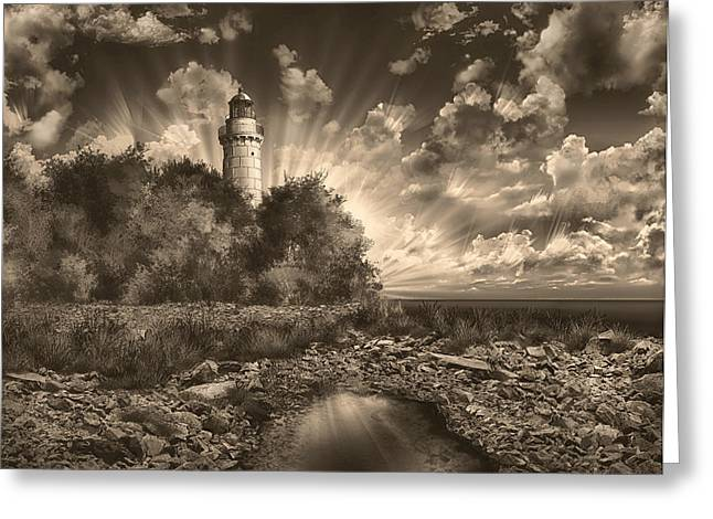 Cana Island Lighthouse Sepia Greeting Card by Bekim Art
