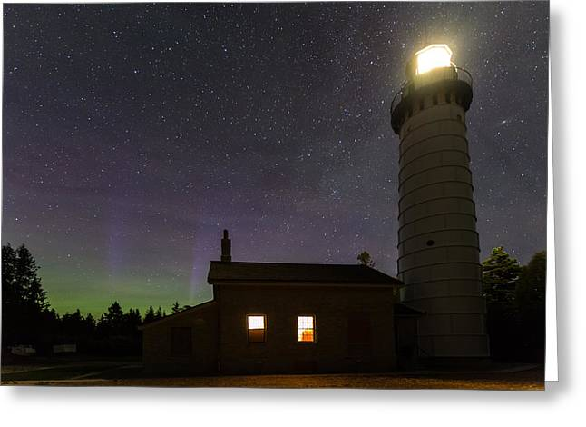 Greeting Card featuring the photograph Cana Island Northern Lights by Paul Schultz