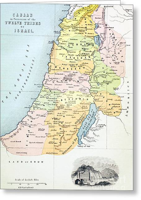 Canaan As It Was Divided Between The Twelve Tribes Of Israel Greeting Card