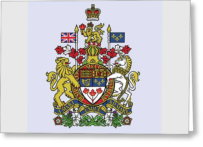 Greeting Card featuring the drawing Canada Coat Of Arms by Movie Poster Prints