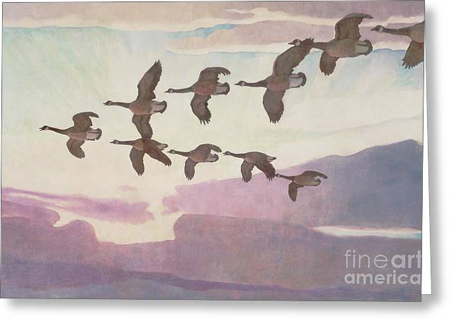 Canada Geese In Spring Greeting Card by Newell Convers Wyeth