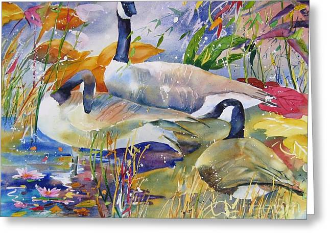 Greeting Card featuring the painting Canada Geese by John Nussbaum
