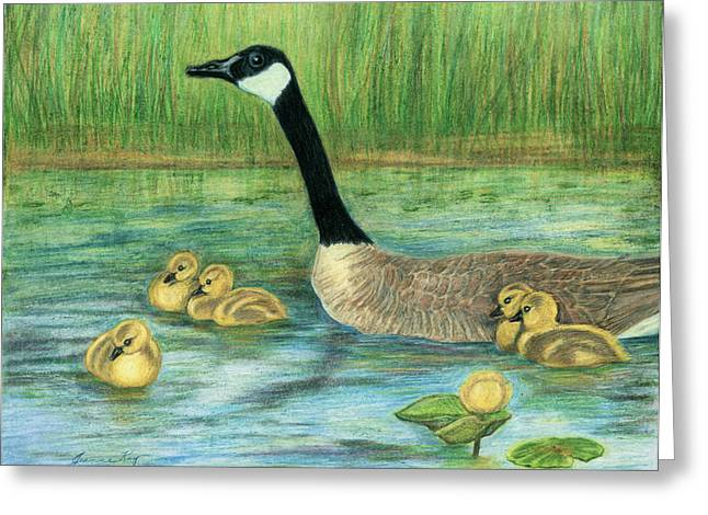 Greeting Card featuring the painting Canada Goose And Goslings by Jeanne Kay Juhos