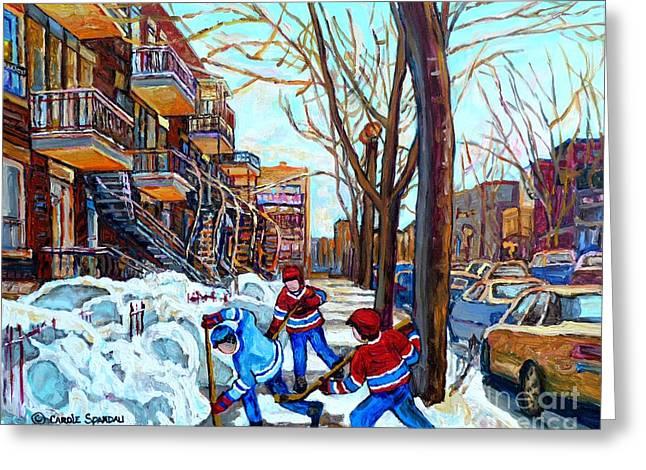 Canadian Art Street Hockey Game Verdun Montreal Memories Winter City Scene Paintings Carole Spandau Greeting Card