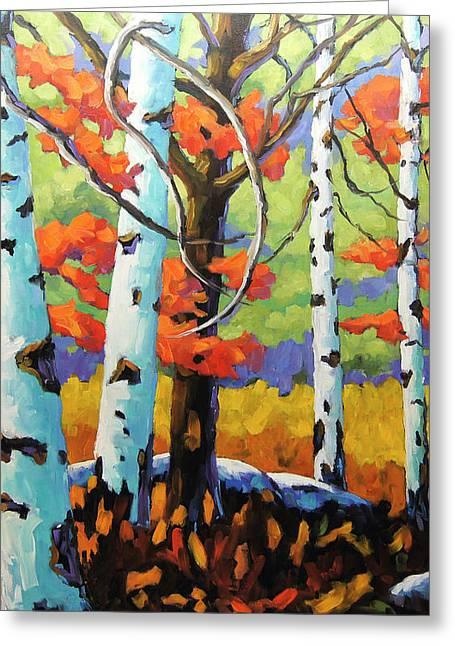 Canadian Birch Woods Greeting Card by Richard T Pranke