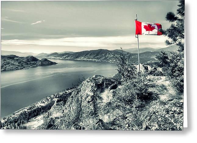 Canadian Flag On Pincushion Mountain Greeting Card by Tara Turner