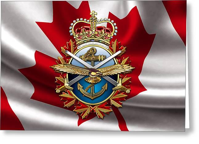 Canadian Forces Emblem Over Flag Greeting Card