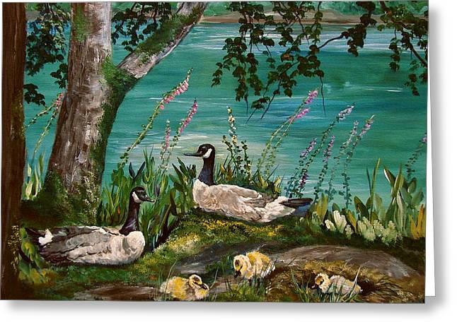Canadian Geese At Nw Trek Greeting Card by JR Hawse
