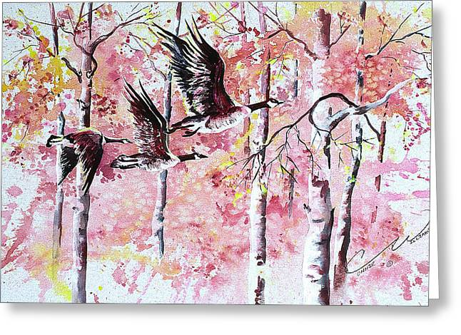Canadian Geese In Flight Greeting Card by Connie Williams