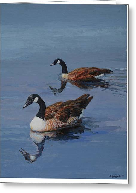 Greeting Card featuring the painting Canadian Geese by Mel Greifinger