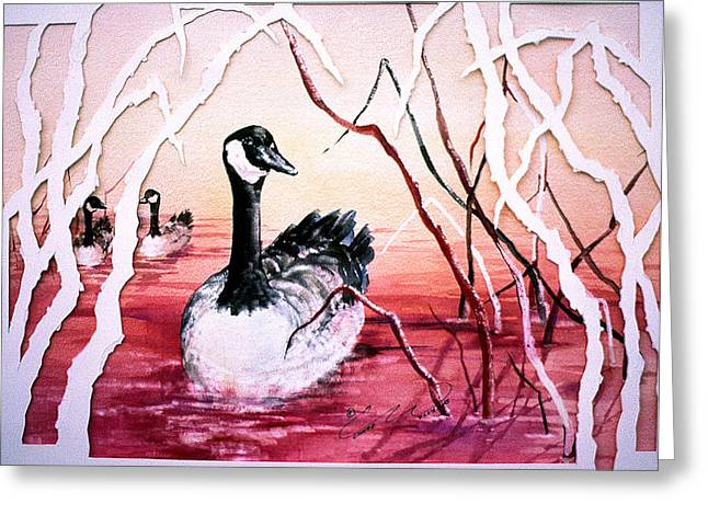 Canadian Geese Sunset Greeting Card