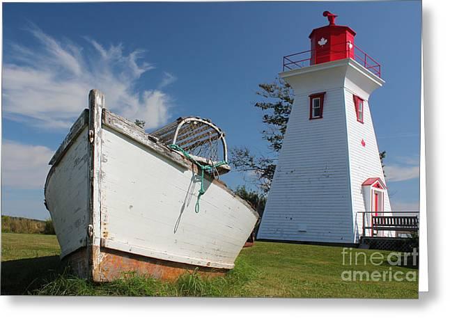 Canadian Maritimes Lighthouse Greeting Card by Wilko Van de Kamp