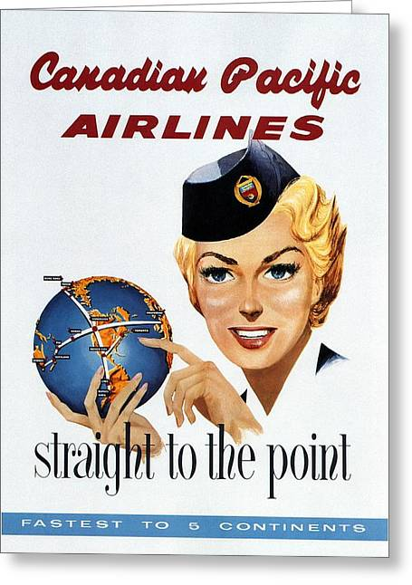 Canadian Pacific Airlines - Straight To The Point - Retro Travel Poster - Vintage Poster Greeting Card